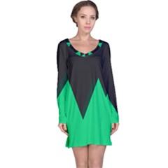 Soaring Mountains Nexus Black Green Long Sleeve Nightdress by Alisyart