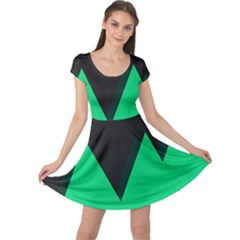 Soaring Mountains Nexus Black Green Cap Sleeve Dresses by Alisyart