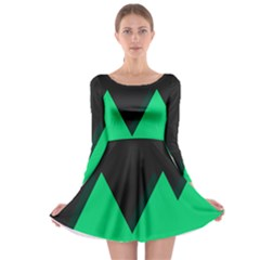 Soaring Mountains Nexus Black Green Long Sleeve Skater Dress by Alisyart