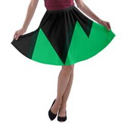 Soaring Mountains Nexus Black Green A Line Skater Skirt by Alisyart