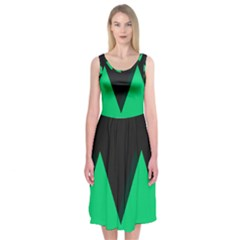 Soaring Mountains Nexus Black Green Midi Sleeveless Dress by Alisyart