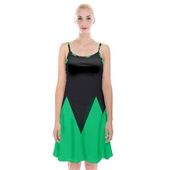 Soaring Mountains Nexus Black Green Spaghetti Strap Velvet Dress