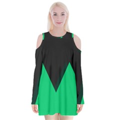 Soaring Mountains Nexus Black Green Velvet Long Sleeve Shoulder Cutout Dress by Alisyart