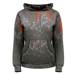 Sun Line Lighs Nets Green Orange Geometric Mountains Women s Pullover Hoodie