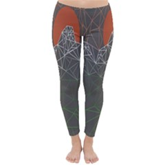 Sun Line Lighs Nets Green Orange Geometric Mountains Classic Winter Leggings