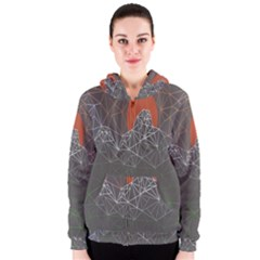 Sun Line Lighs Nets Green Orange Geometric Mountains Women s Zipper Hoodie