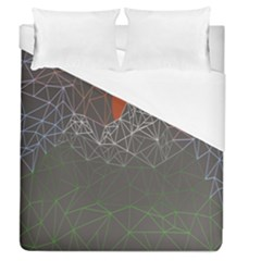 Sun Line Lighs Nets Green Orange Geometric Mountains Duvet Cover (queen Size)
