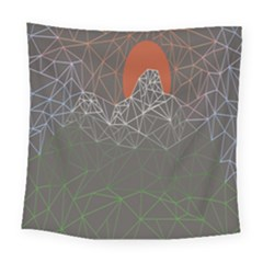 Sun Line Lighs Nets Green Orange Geometric Mountains Square Tapestry (large) by Alisyart