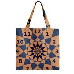 Stellated Regular Dodecagons Center Clock Face Number Star Zipper Grocery Tote Bag by Alisyart
