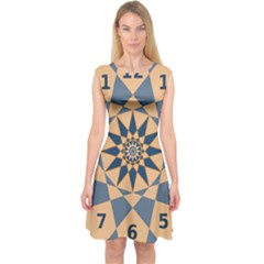 Stellated Regular Dodecagons Center Clock Face Number Star Capsleeve Midi Dress