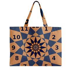 Stellated Regular Dodecagons Center Clock Face Number Star Medium Zipper Tote Bag by Alisyart