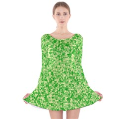 Specktre Triangle Green Long Sleeve Velvet Skater Dress
