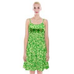 Specktre Triangle Green Spaghetti Strap Velvet Dress