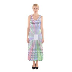 Tunnel With Bright Colors Rainbow Plaid Love Heart Triangle Sleeveless Maxi Dress