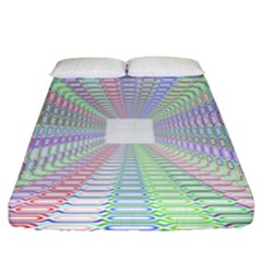 Tunnel With Bright Colors Rainbow Plaid Love Heart Triangle Fitted Sheet (king Size) by Alisyart
