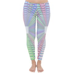 Tunnel With Bright Colors Rainbow Plaid Love Heart Triangle Classic Winter Leggings