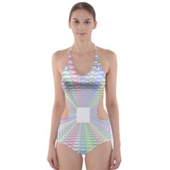 Tunnel With Bright Colors Rainbow Plaid Love Heart Triangle Cut Out One Piece Swimsuit