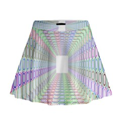 Tunnel With Bright Colors Rainbow Plaid Love Heart Triangle Mini Flare Skirt by Alisyart