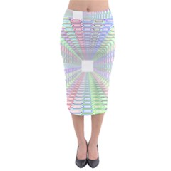 Tunnel With Bright Colors Rainbow Plaid Love Heart Triangle Midi Pencil Skirt by Alisyart