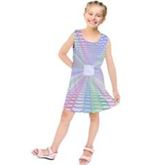 Tunnel With Bright Colors Rainbow Plaid Love Heart Triangle Kids  Tunic Dress by Alisyart
