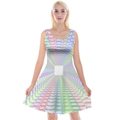 Tunnel With Bright Colors Rainbow Plaid Love Heart Triangle Reversible Velvet Sleeveless Dress