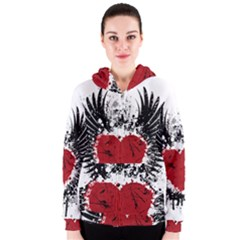 Wings Of Heart Illustration Women s Zipper Hoodie by TastefulDesigns