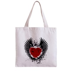 Wings Of Heart Illustration Zipper Grocery Tote Bag by TastefulDesigns