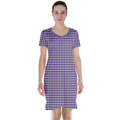 Mardi Gras Purple Plaid Short Sleeve Nightdress