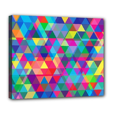 Colorful Abstract Triangle Shapes Background Deluxe Canvas 24  X 20   by TastefulDesigns