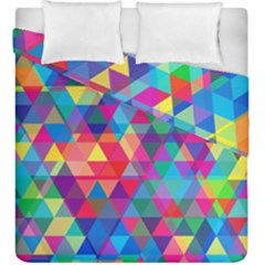 Colorful Abstract Triangle Shapes Background Duvet Cover Double Side (king Size) by TastefulDesigns