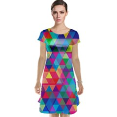 Colorful Abstract Triangle Shapes Background Cap Sleeve Nightdress by TastefulDesigns