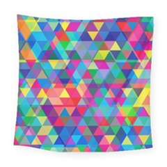 Colorful Abstract Triangle Shapes Background Square Tapestry (large) by TastefulDesigns
