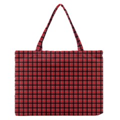 Red Plaid Medium Zipper Tote Bag