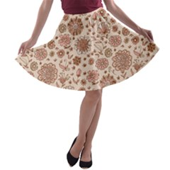 Retro Sketchy Floral Patterns A Line Skater Skirt by TastefulDesigns