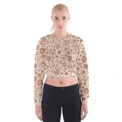 Retro Sketchy Floral Patterns Women s Cropped Sweatshirt by TastefulDesigns
