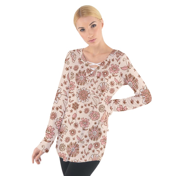 Retro Sketchy Floral Patterns Women s Tie Up Tee