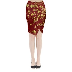 Background Design Leaves Pattern Midi Wrap Pencil Skirt by Simbadda