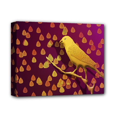 Bird Design Wall Golden Color Deluxe Canvas 14  X 11