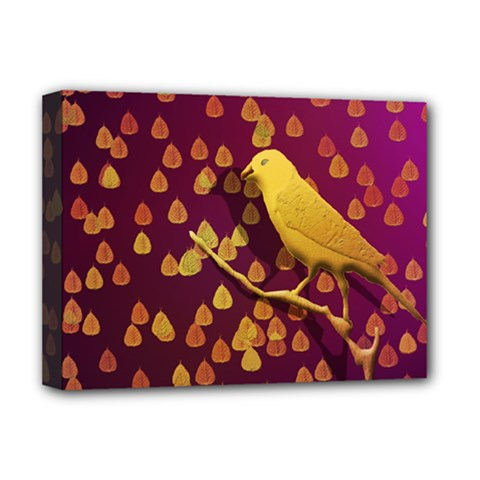 Bird Design Wall Golden Color Deluxe Canvas 16  X 12