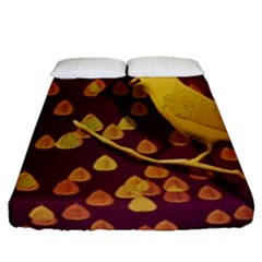 Bird Design Wall Golden Color Fitted Sheet (queen Size) by Simbadda