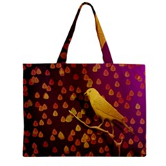 Bird Design Wall Golden Color Zipper Mini Tote Bag by Simbadda