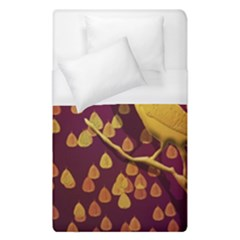 Bird Design Wall Golden Color Duvet Cover (single Size) by Simbadda