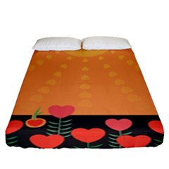 Love Heart Valentine Sun Flowers Fitted Sheet (queen Size) by Simbadda