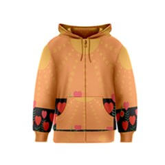 Love Heart Valentine Sun Flowers Kids  Zipper Hoodie by Simbadda