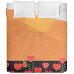 Love Heart Valentine Sun Flowers Duvet Cover Double Side (california King Size) by Simbadda