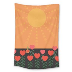 Love Heart Valentine Sun Flowers Large Tapestry by Simbadda