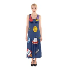 Space Background Design Sleeveless Maxi Dress
