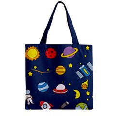 Space Background Design Zipper Grocery Tote Bag by Simbadda
