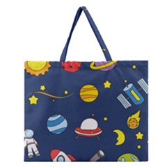 Space Background Design Zipper Large Tote Bag