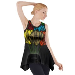 Flowers Painting Still Life Plant Side Drop Tank Tunic